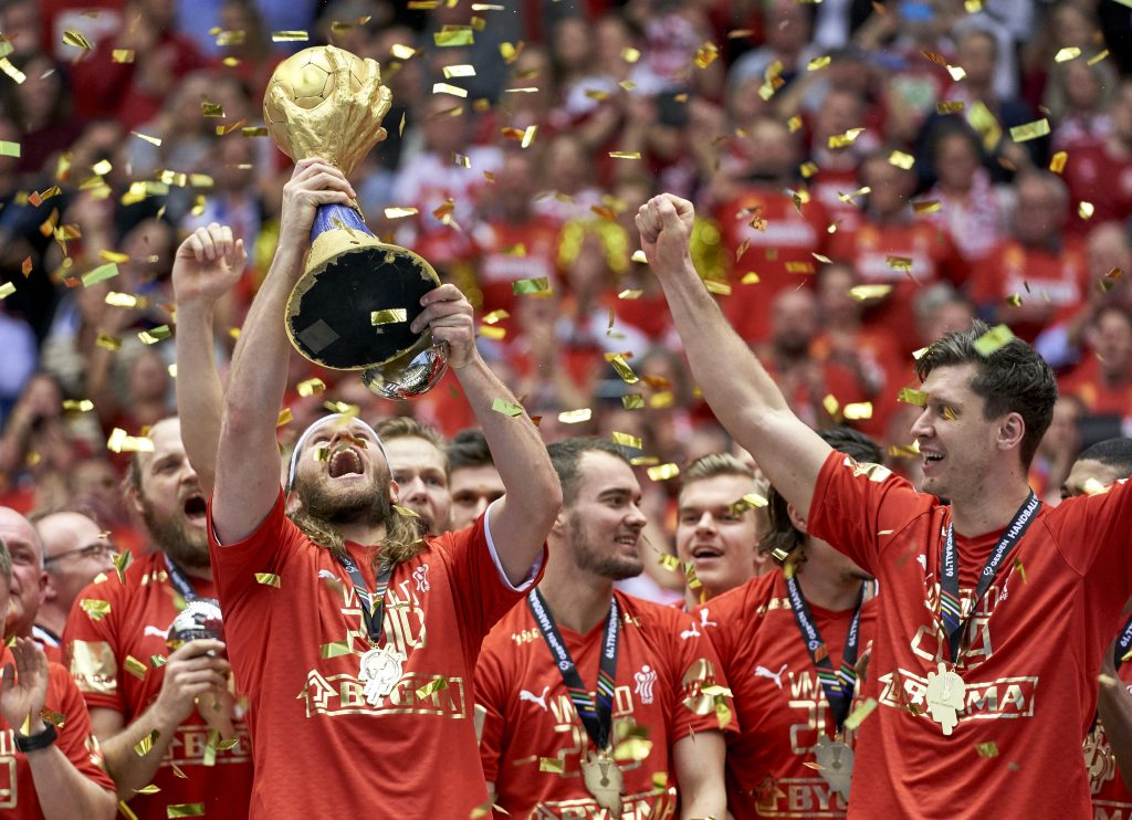 Mikkel Hansen (24) of Denmark with the trophy and gold medal after men`s IHF Handball World Championship Final between Denmark and Noway at the Jyske Bank Boxen arena in Herning Denmark on Sunday January 27 2019.